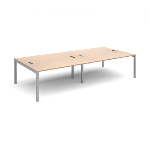 Connex double back to back desks 3200mm x 1600mm - silver frame and beech top