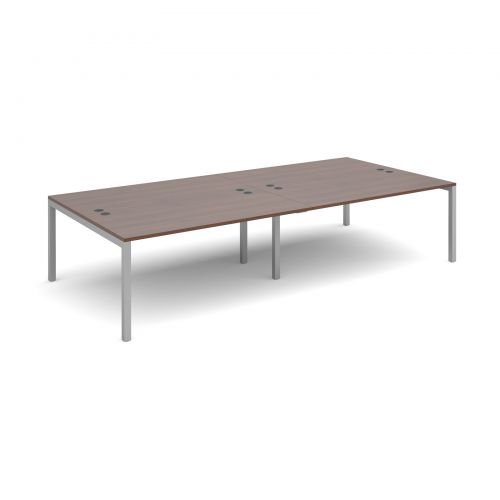 Connex double back to back desks 3200mm x 1600mm - silver frame and walnut top