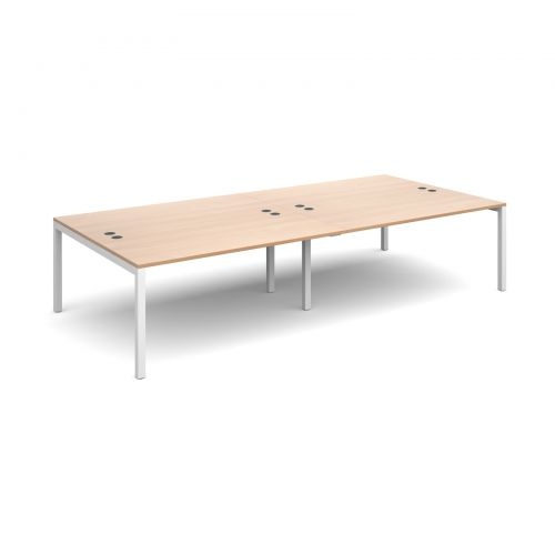 Connex double back to back desks 3200mm x 1600mm - white frame, beech top