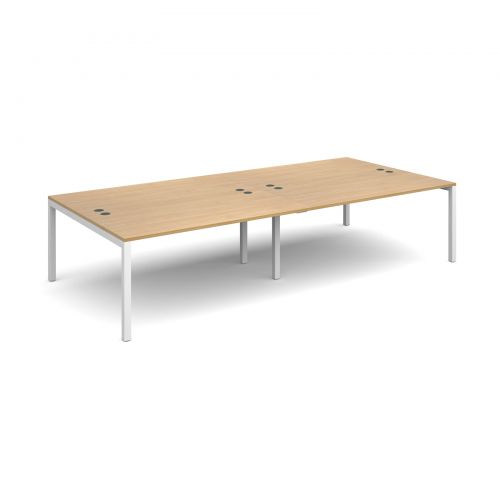 Connex double back to back desks 3200mm x 1600mm - white frame and oak top