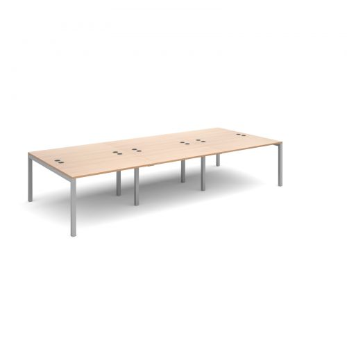 Connex triple back to back desks 3600mm x 1600mm - silver frame and beech top
