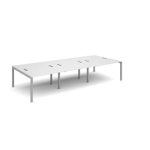 Connex triple back to back desks 3600mm x 1600mm - silver frame, white top