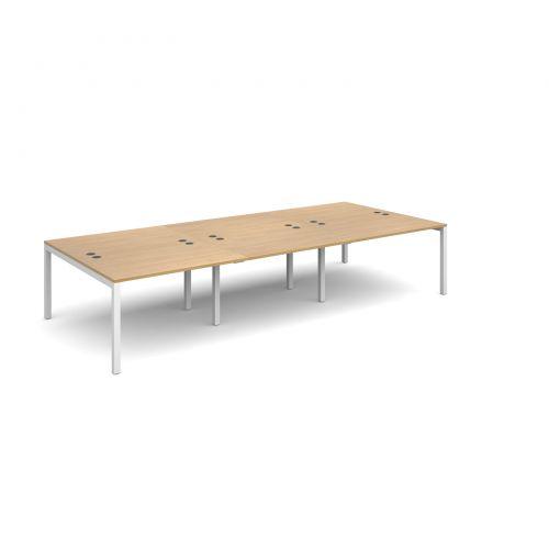 Connex triple back to back desks 3600mm x 1600mm - white frame and oak top