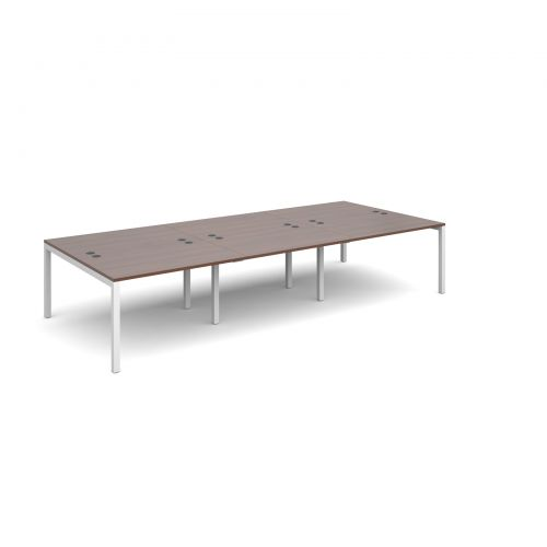 Connex triple back to back desks 3600mm x 1600mm - white frame and walnut top