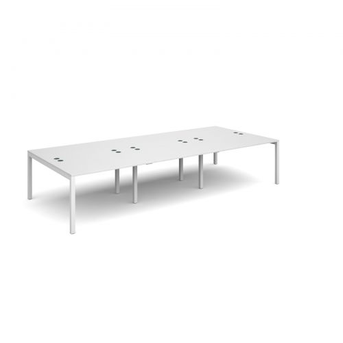 Connex triple back to back desks 3600mm x 1600mm - white frame and white top