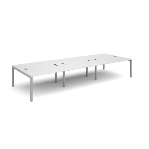 Connex triple back to back desks 4200mm x 1600mm - silver frame and white top