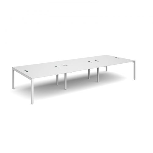 Connex triple back to back desks 4200mm x 1600mm - white frame and white top