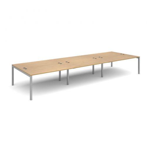 Connex triple back to back desks 4800mm x 1600mm - silver frame and oak top
