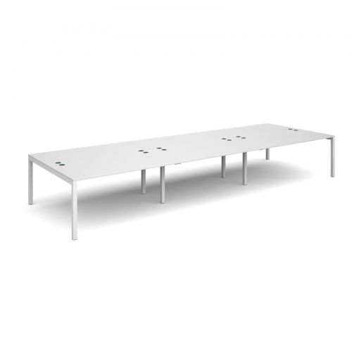 Connex triple back to back desks 4800mm x 1600mm - white frame and white top