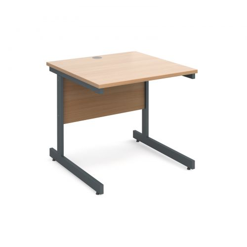 Contract 25 straight desk 800mm x 800mm - graphite cantilever frame and beech top