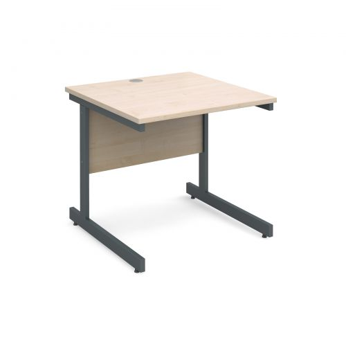 Contract 25 straight desk 800mm x 800mm - graphite cantilever frame and maple top
