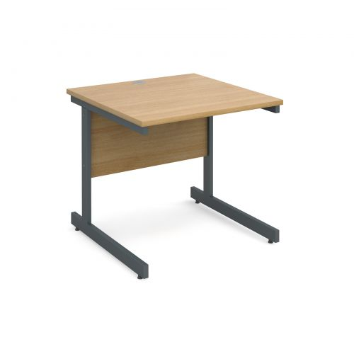 Contract 25 straight desk 800mm x 800mm - graphite cantilever frame and oak top