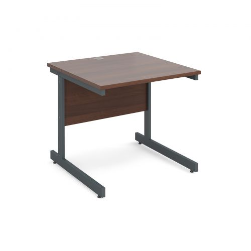 Contract 25 straight desk 800mm x 800mm - graphite cantilever frame and walnut top