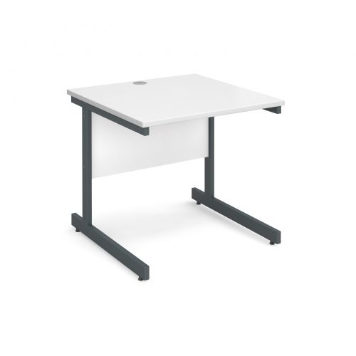 Contract 25 straight desk 800mm x 800mm - graphite cantilever frame and white top
