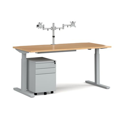 Elev8 Mono straight sit-stand desk 1600mm - silver frame and oak top with matching double monitor arm and steel pedestal and cable tray