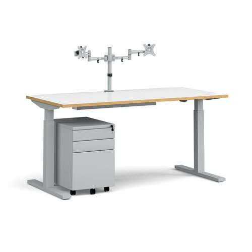 Elev8 Mono straight sit-stand desk 1600mm - silver frame and white top with oak edge with matching double monitor arm and steel pedestal and cable tra