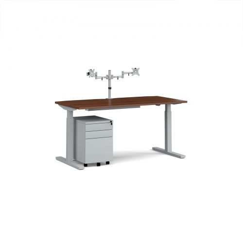 Elev8 Mono straight sit-stand desk 1600mm - silver frame/walnut top with matching double monitor arm plus steel pedestal and cable tray