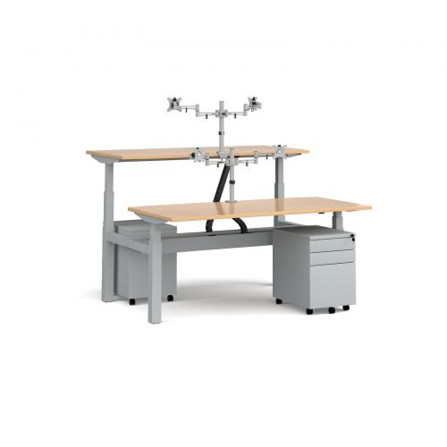Elev8 Mono sit-stand back-to-back desks 1600mm - silver frame/beech top with matching double monitor arms and steel pedestals plus cable channel/chain