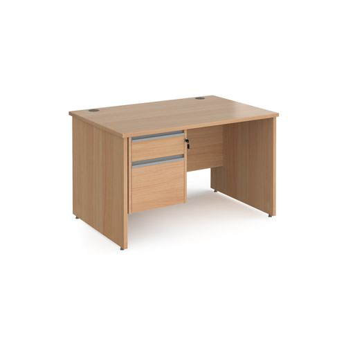 Contract 25 straight desk with 2 drawer silver pedestal and panel leg 1200mm x 800mm - beech