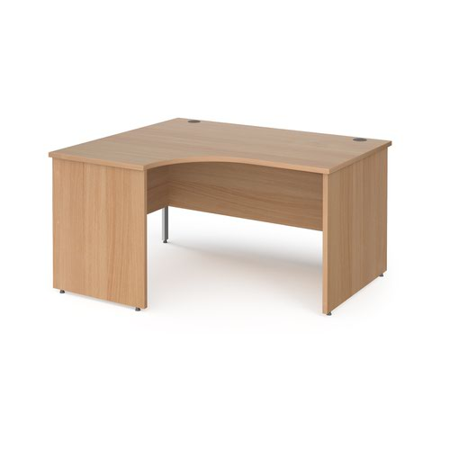 Contract 25 left hand ergonomic desk with panel ends and silver corner leg 1400mm - beech