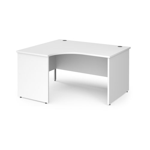 Contract 25 left hand ergonomic desk with panel ends and silver corner leg 1400mm - white