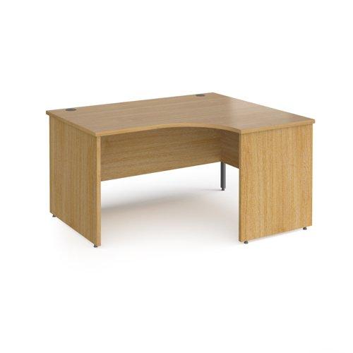 Contract 25 right hand ergonomic desk with panel ends and graphite corner leg 1400mm - oak
