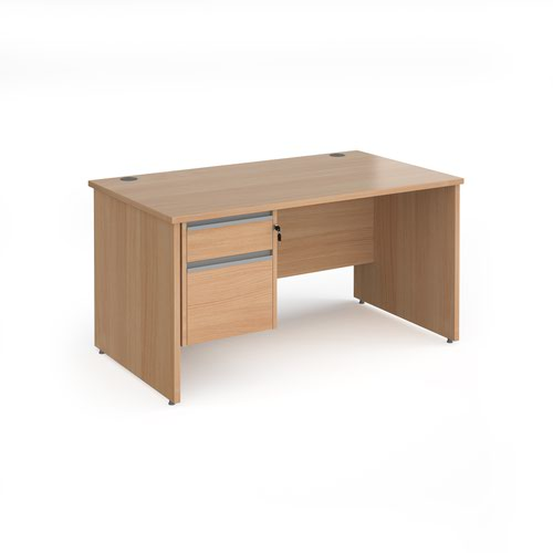 Contract 25 straight desk with 2 drawer silver pedestal and panel leg 1400mm x 800mm - beech