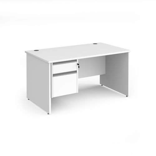 Contract 25 straight desk with 2 drawer silver pedestal and panel leg 1400mm x 800mm - white