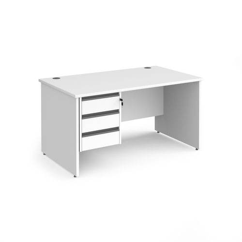 Contract 25 straight desk with 3 drawer graphite pedestal and panel leg 1400mm x 800mm - white