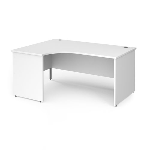 Contract 25 left hand ergonomic desk with panel ends and silver corner leg 1600mm - white