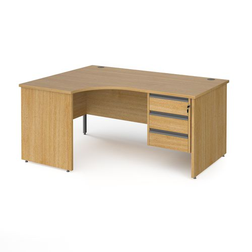 Contract 25 left hand ergonomic desk with 3 drawer graphite pedestal and panel leg 1600mm - oak