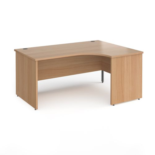Contract 25 right hand ergonomic desk with panel ends and graphite corner leg 1600mm - beech