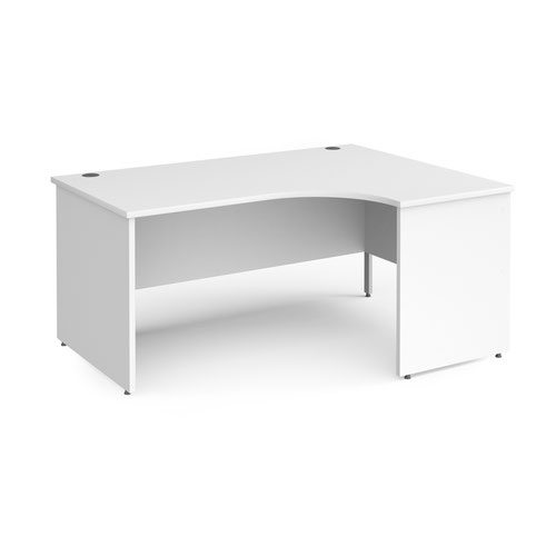 Contract 25 right hand ergonomic desk with panel ends and silver corner leg 1600mm - white
