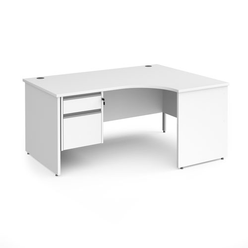Contract 25 right hand ergonomic desk with 2 drawer silver pedestal and panel leg 1600mm - white