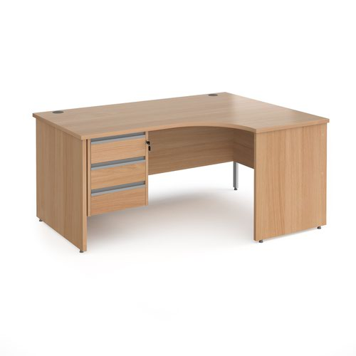 Contract 25 right hand ergonomic desk with 3 drawer silver pedestal and panel leg 1600mm - beech