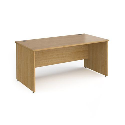Contract 25 straight desk with panel leg 1600mm x 800mm - oak
