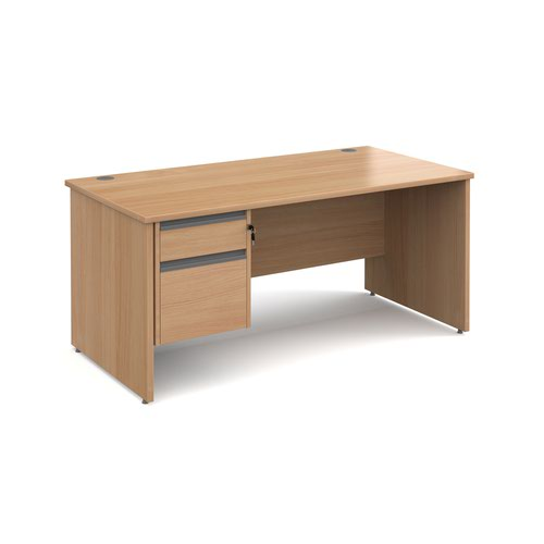 Contract 25 straight desk with 2 drawer graphite pedestal and panel leg 1600mm x 800mm - beech