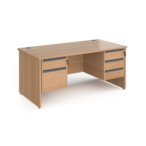 Contract 25 straight desk with 2 and 3 drawer graphite pedestals and panel leg 1600mm x 800mm - beech