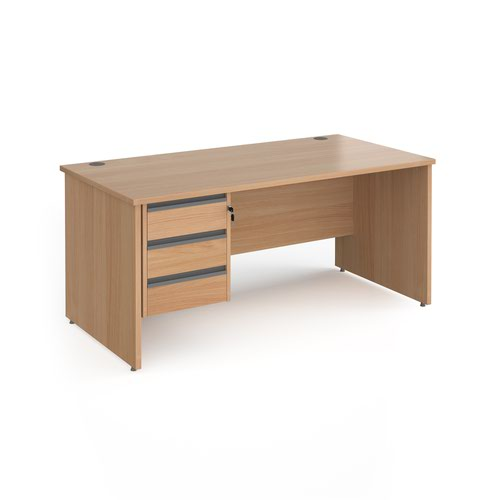 Contract 25 straight desk with 3 drawer graphite pedestal and panel leg 1600mm x 800mm - beech