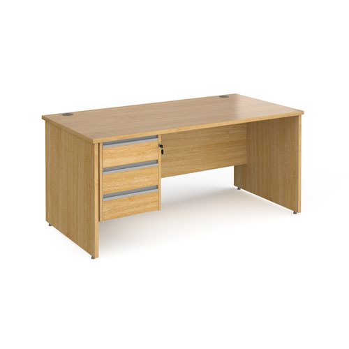 Contract 25 straight desk with 3 drawer silver pedestal and panel leg 1600mm x 800mm - oak