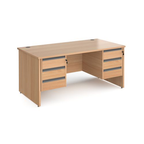 Contract 25 straight desk with 3 and 3 drawer graphite pedestals and panel leg 1600mm x 800mm - beech