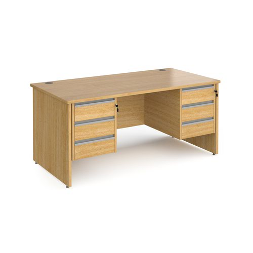 Contract 25 straight desk with 3 and 3 drawer silver pedestals and panel leg 1600mm x 800mm - oak