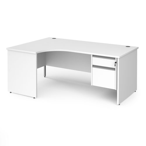 Contract 25 left hand ergonomic desk with 2 drawer silver pedestal and panel leg 1800mm - white