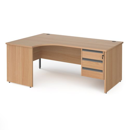 Contract 25 left hand ergonomic desk with 3 drawer graphite pedestal and panel leg 1800mm - beech
