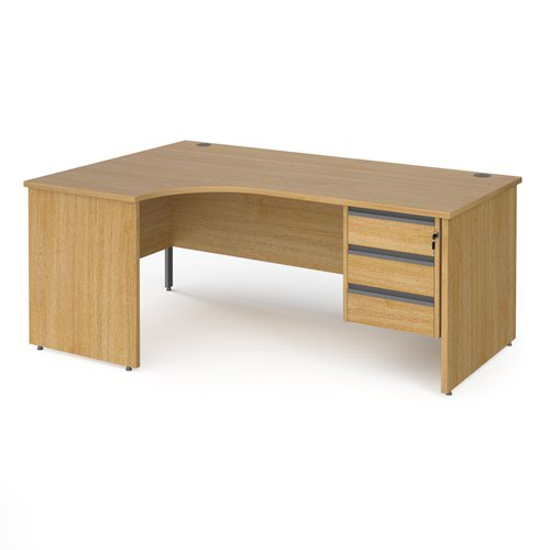 Contract 25 left hand ergonomic desk with 3 drawer graphite pedestal and panel leg 1800mm - oak