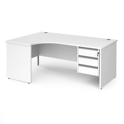 Contract 25 left hand ergonomic desk with 3 drawer silver pedestal and panel leg 1800mm - white