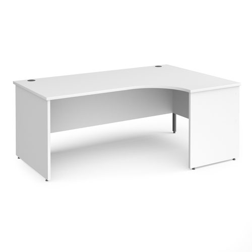 Contract 25 right hand ergonomic desk with panel ends and graphite corner leg 1800mm - white