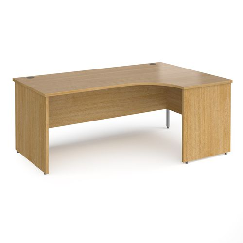 Contract 25 right hand ergonomic desk with panel ends and silver corner leg 1800mm - oak