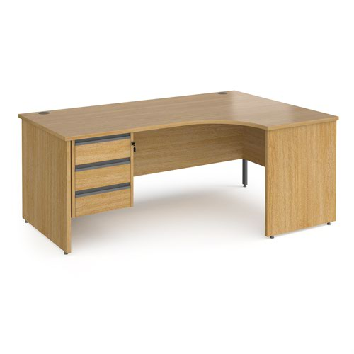 Contract 25 right hand ergonomic desk with 3 drawer graphite pedestal and panel leg 1800mm - oak