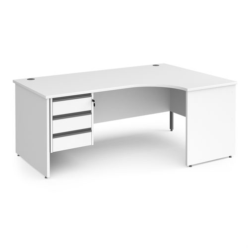 Contract 25 right hand ergonomic desk with 3 drawer graphite pedestal and panel leg 1800mm - white